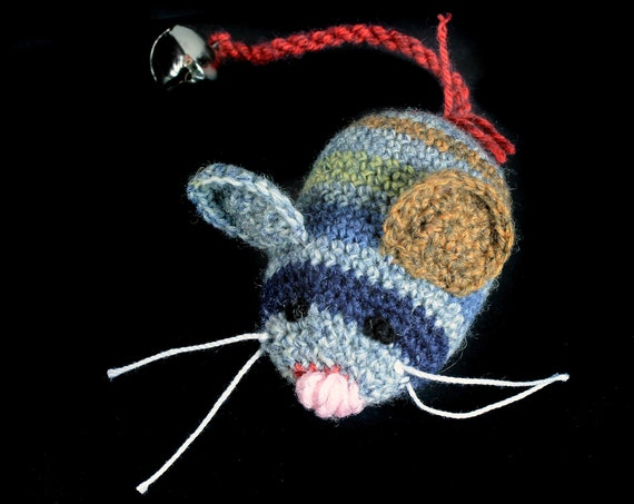 Catnip Toy Mouse, Mouse With Bell, Striped, Crocheted, Pet Toy, Organic Cat Nip, Pet Accessory