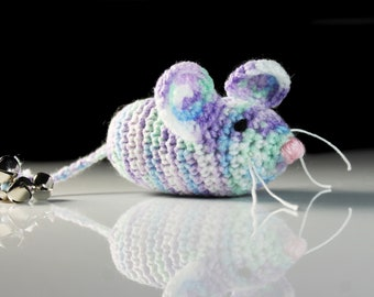 Cat Toy, Catnip Mouse, Mouse With Bell, Multicolor, Crocheted, Pet Toy, Organic Catnip, Pet Accessory