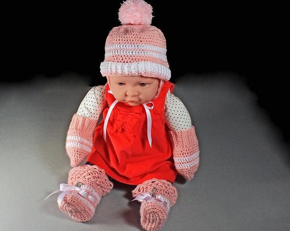Pink Baby Set, Winter Baby Hat, Mittens, Booties, Baby Winter Set, Baby Girl, Crochet, Baby Clothes, Baby Accessories, Infant Winter Set