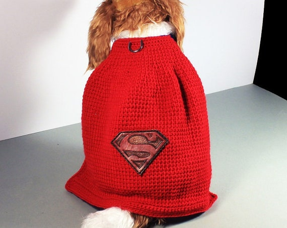 Superman Pet Costume, Fits 10-20 lb. Pet, Pet Sweater, Superhero, Crochet, Hand Tooled Leather, Photo Prop, Halloween Costume