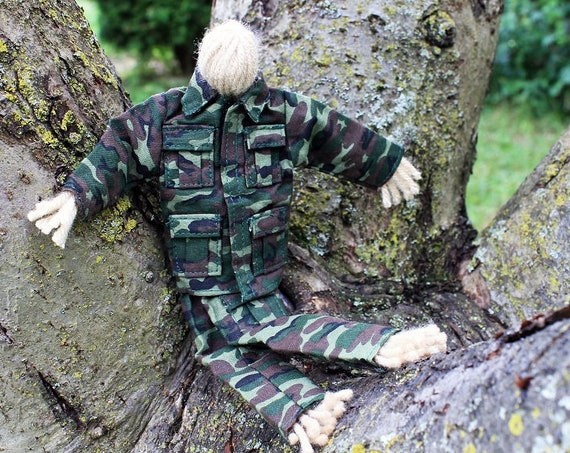 Military Folk Art Doll, Army Doll, Yarn Doll, Handmade Doll, Toy, Camouflage, Art Doll