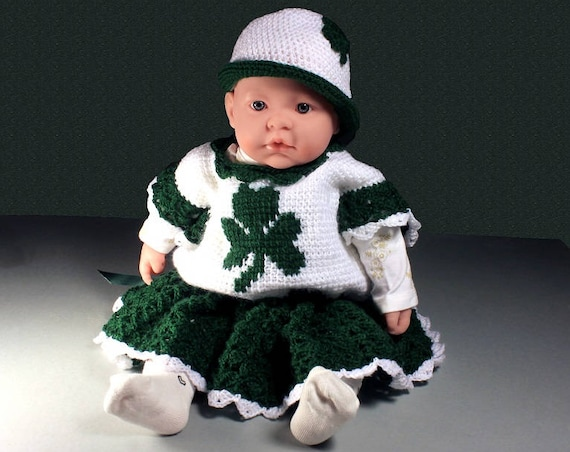 Crochet Baby Dress Set, Shamrock , Baby Dress and Hat, Baby Clothing, Newborn to 3 Months, Baby Gift Set, St. Patrick's Day