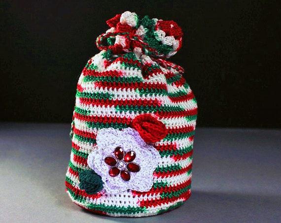 Gift Bag, Mini Tote, Wristlet, Handbag, Christmas, Drawstring Bag, Boho Bag, Hippie Bag, Handmade, Crochet,  Holiday Gift Idea