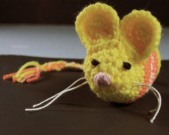 Catnip Toy Mouse, Mouse Cat Toy, Two-Tone, Yellow and Orange Multicolored, Crocheted, Pet Toy, Organic Catnip, Pet Accessory