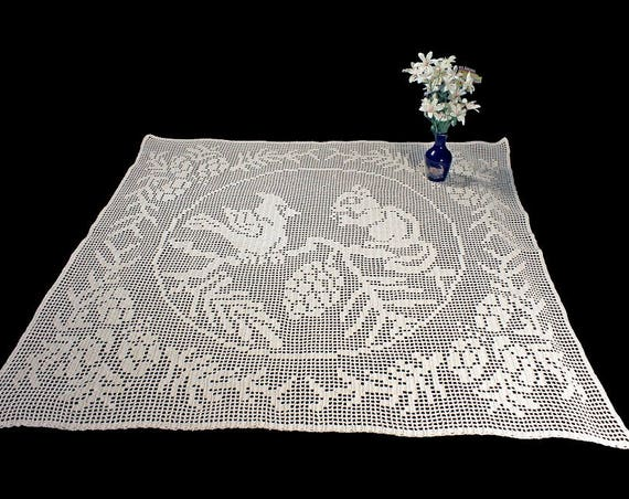 Crochet Tablecloth, Wall Hanging, Curtain, Crochet, Squirrel and Bird Design, Filet Crochet, Square, Ecru, Natural