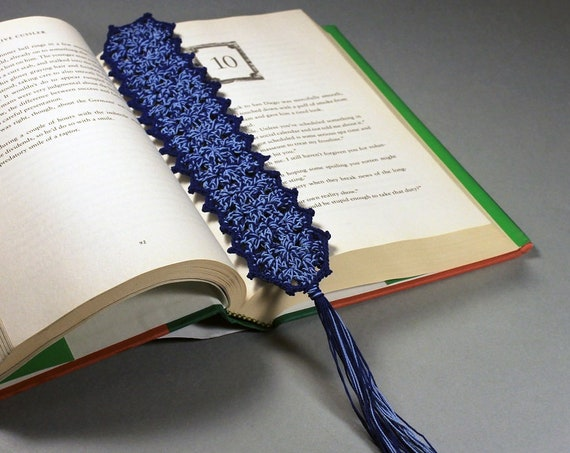 Blue Bookmark, Crochet, 10 Inches, Book Lovers Gift, Rectangle, Handmade, Dark Blue, Light Blue, Tassel