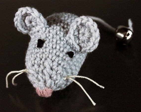 Catnip Toy Mouse, Mouse With Bell, Gray, Crocheted, Pet Toy, Organic Cat Nip, Pet Accessory