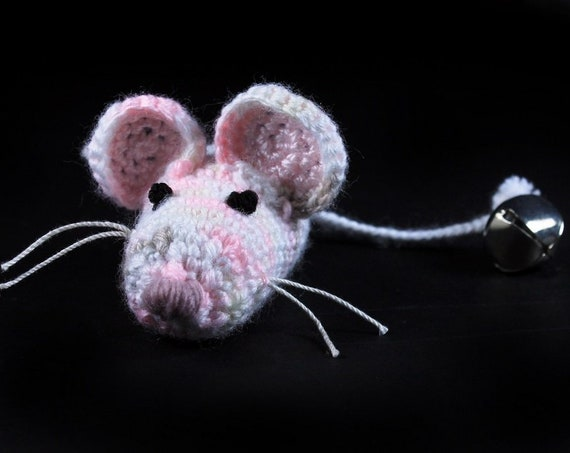 Catnip Toy Mouse, Mouse With Bell, Pink Multicolored, Crocheted, Pet Toy, Organic Cat Nip, Pet Accessory