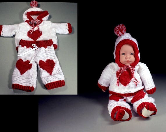 Crochet Baby Outfit, Baby Sweater and Pants, Red and White, Baby Clothing, Newborn to 3 Months, Baby Gift Set, Valentine's Day