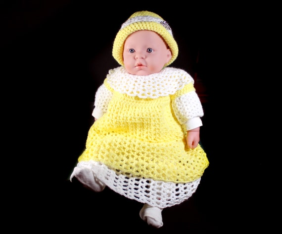 Crochet Baby Dress, Baby Girl's Dress, Baby Set, Baby Clothing, 0-3 Months, Yellow and White, Baby Shower Gift, Baby Gift Set, Easter