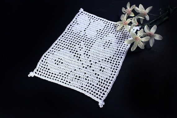 Crochet Doily, Rectangle, Mini Doily, White, Butterfly, Small, Crochet Mat, Crochet Lace