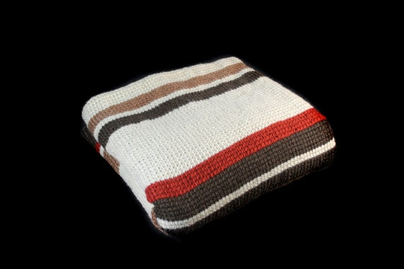 Striped Crochet Blanket,  Afghan, TV Blanket, Couch Afghan, Gift Idea, Autumn Colors, Home Decor