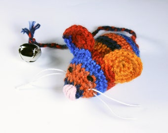 Cat Toy, Catnip Toy Mouse, Mouse With Bell, Multicolored, Crocheted, Pet Toy, Organic Cat Nip, Pet Accessory