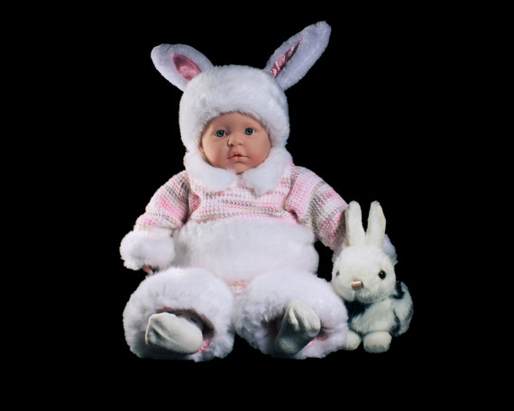Bunny Rabbit Baby Outfit, Bunny Costume, Crochet, Baby Clothing, 0 to 3 Months, Baby Gift Set, Bunny Suit, Easter Outfit