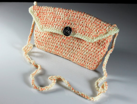 Crochet Handbag, Orange and Yellow, Handmade, Shoulder Bag, Purse, 8 Inch