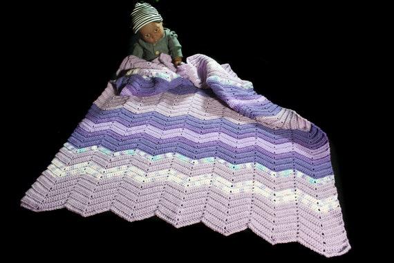 Crochet Ripple Baby Blanket, Purple, Baby Throw, Stroller Blanket, Crib Blanket, Baby Shower Gift