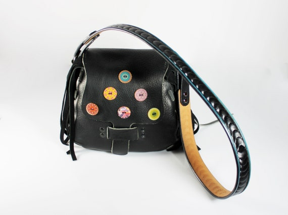 Fringed Black Leather Handbag, Shoulder Bag, Button Adornment, One of A Kind, Hand Tooled Leather Strap