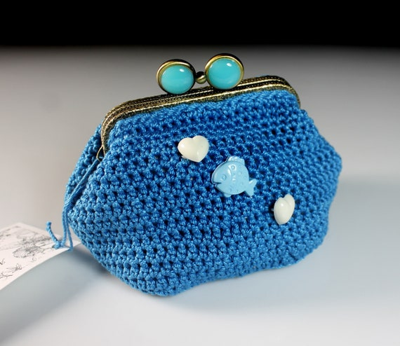 Crochet Coin Purse, Fish and Hearts, Blue, Kiss Closure, Metal Goldtone Frame, Coin Pouch, Handmade
