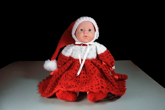 Christmas Baby Dress, Baby Christmas Set, Baby Girl's Dress, Holiday Baby Set, Crochet, Baby Clothing, Newborn to 6 Months, Baby Gift Set