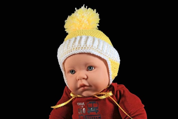Winter Baby Hat, Crochet, Unisex Baby Hat, Handmade, Infant Winter Hat, 0-3 Months, Yellow Hat, Ear Flaps, Ribbon Ties, Baby Shower Gift