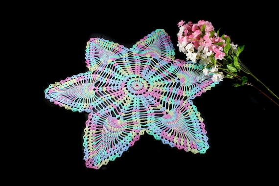 Crochet Doily, Star, 17-inch, Multicolor, Crochet Mat, Crochet Lace, Fine Art Crochet, 100% Cotton