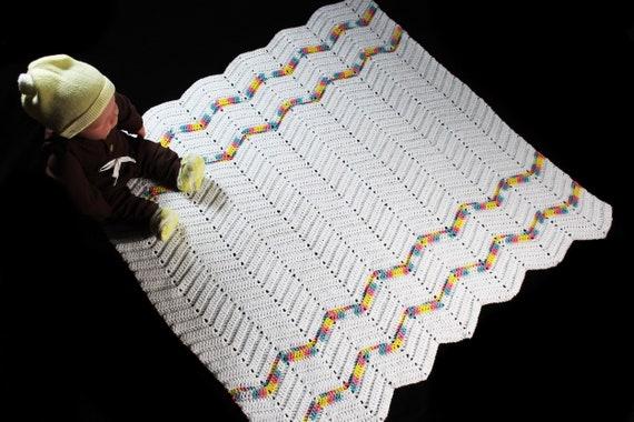 Crochet Ripple Baby Blanket, White, Baby Throw, Stroller Blanket, Crib Blanket, Baby Shower Gift, Square