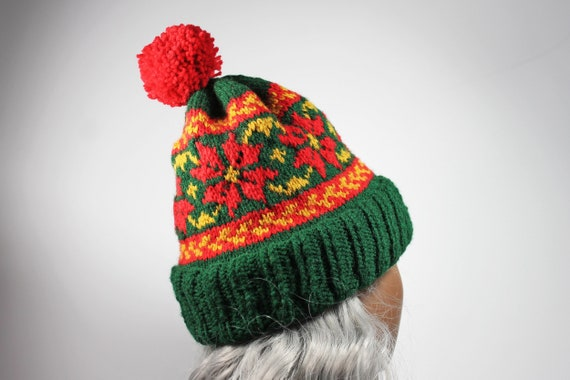 Holiday Winter Hat, Fairisle Poinsettia, Christmas Colors, Pull On, Ski Hat