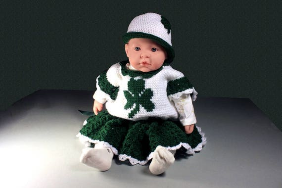 b04103406c7 Crochet Baby Outfit Baby Shamrock Set Baby Dress and Hat
