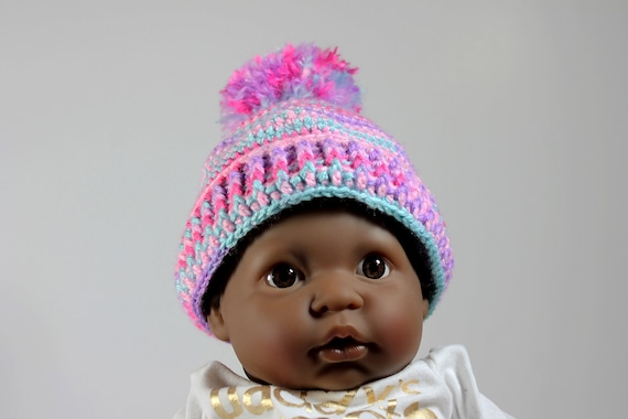 Winter Baby Hat, Crochet, Unisex Baby Hat, Handmade, Infant Winter Hat, 0-3 months, Baby Shower Gift, Pull-On Hat, Multicolored