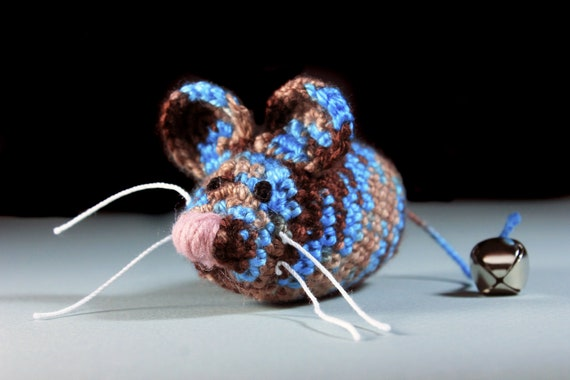 Catnip Toy Mouse, Mouse With Bell, Multicolored, Crocheted, Pet Toy, Organic Cat Nip, Pet Accessory