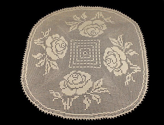 Doily, Crochet, Tablecloth, Rose Design, Handmade, Square, Elegant Roses  33 iInch