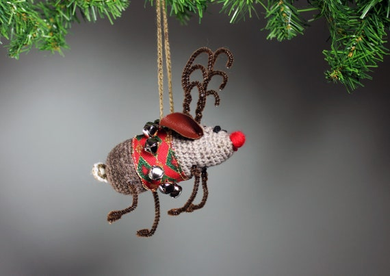 Reindeer Christmas Ornament, Christmas Reindeer, Crochet, Holiday Decor, Christmas Decoration, Reindeer Mouse Ornament