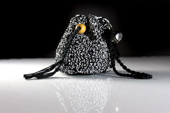 Wristlet, Boho Style, Drawstring Bag, Handbag, Bohemian, Boho Chic, Black and White, One of a Kind, Original