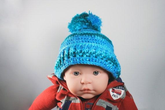 Winter Baby Hat, Crochet,  Unisex Baby Hat, Handmade, Infant Winter Hat, 0-3 months, Baby Shower Gift, Pull On Hat, Teal Color