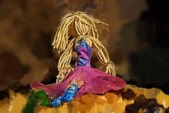 Art Doll, Folk Art Doll, Yarn Doll, Handmade, Pink and Blue