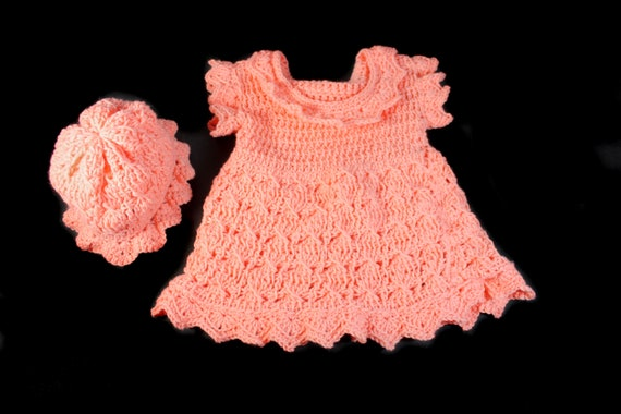 Crochet Baby Dress, Baby Girl's Dress, Baby Set, Baby Clothing, 3-6 Months, Peach Color, Baby Gift Set