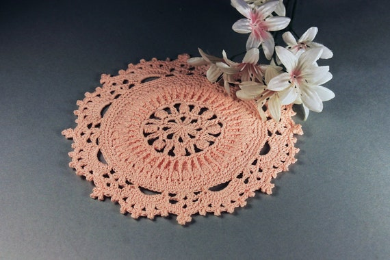 Crochet Doily, Round, Mini Doily, Peach Color, Small, Crochet Mat, Crochet Lace