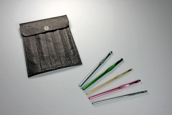 Leather Crochet Hook Case, Brown, Crochet Accessory, Holds 5 Hooks