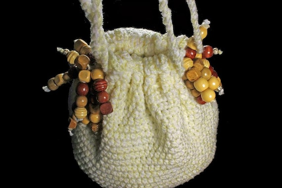 Handbag, Hobo Bag, Boho Chic, Drawstring Bag, Yellow and White, Beaded