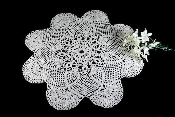 Crochet Doily, Round, 17-inch, Ecru, Crochet Mat, Crochet Lace, Fine Art Crochet, Cotton
