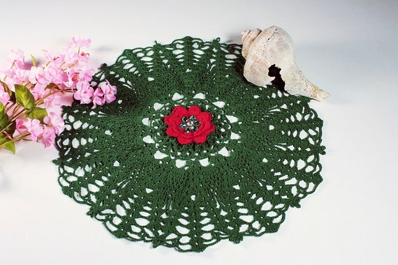Crochet Christmas Doily, Round, 11-inch, Center Rose, Holiday Doily, Red and Green, Crochet Mat, Christmas Rose, OOAK. Holiday Decor