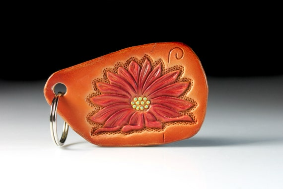 Leather Keychain, Hand Tooled Leather, Flower Keychain, Purse Accessory, Zipper Pull, Adornment, Decoration