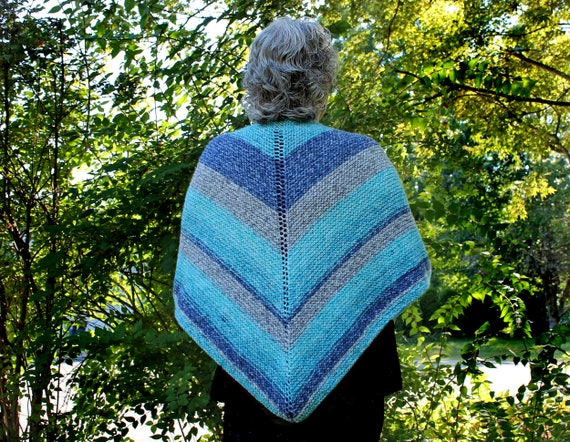 Knit Woman's Shawl, Triangle Wrap, Outerwear, Blue and Gray, Woman's Gift
