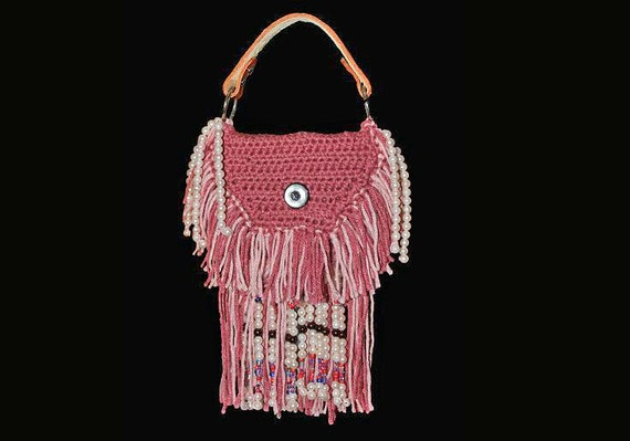 Boho Hippy Bag, Top Handle Bohemian, Handbag, Rose and Pink, Hand Tooled Leather, Leather Interior, Fringe and Beaded