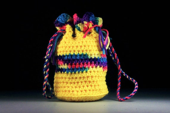Gift Bag, Mini Tote, Wristlet, Handbag, Yellow and Multicolor, Drawstring Bag, Boho Bag, Hippie Bag, Handmade, Crochet, Gift Idea