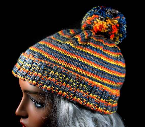 Women's Winter Hat, Hand Knit, Pom Pom, Multicolored, Pull On, Ski Hat