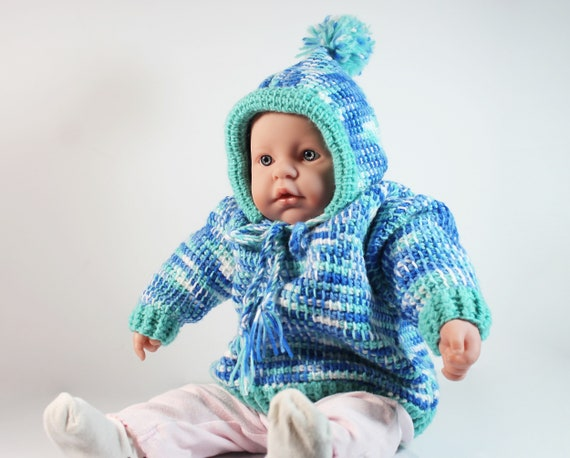 Crochet Hooded Baby Sweater, Pull Over, Baby Clothing,  6 to 12 Months, Baby Gift, Multicolor