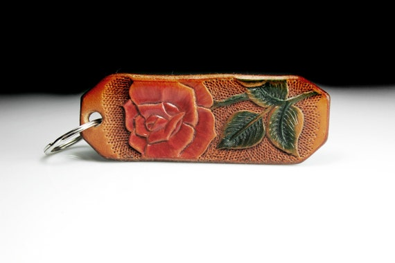 Leather Keychain, Hand Tooled Leather, Rose Keychain, Purse Accessory, Zipper Pull, Adornment, Decoration