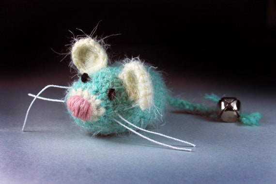 Catnip Toy Mouse, Mouse With Bell, Fuzzy Mouse Toy, Green and Yellow, Crocheted, Pet Toy, Organic Cat Nip, Pet Accessory