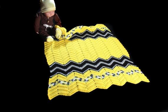 Crochet Ripple Baby Blanket, Yellow and Black, Baby Throw, Stroller Blanket, Crib Blanket, Baby Shower Gift